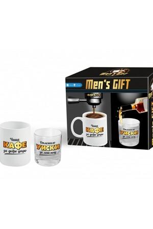 Подаръчен комплект за него - чаши за кафе и уиски #7059